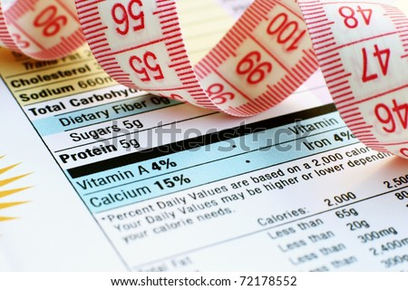 Measure tape on nutrition facts - stock photo
