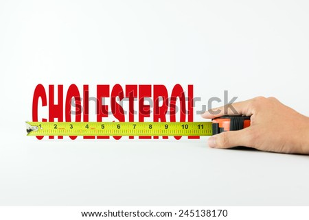 Measure the word cholesterol with measuring tape on white background - stock photo