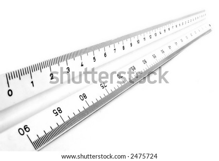 Measurement tool ruler isolated over a white background - stock photo