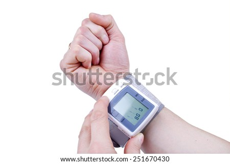 Measuring blood pressure close-up - stock photo