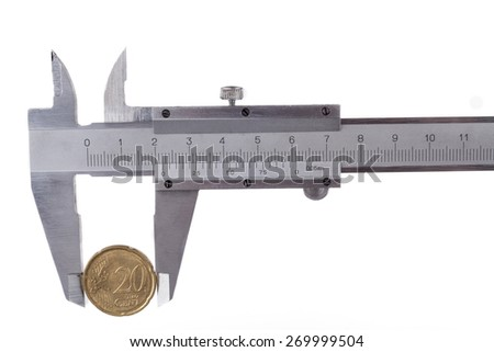 Measuring 20 cent euro coin with silver tool isolated on white background - stock photo