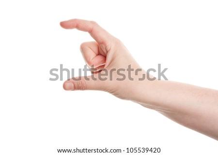 Measuring female hand isolated on white background - stock photo
