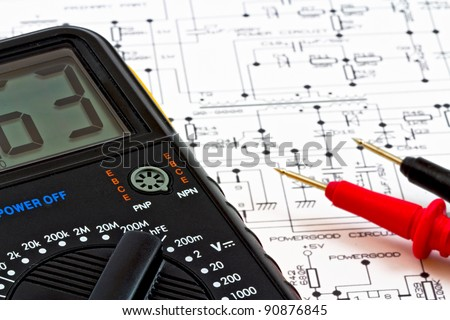 measuring instruments and electrical diagram of the measuring points for testing equipment