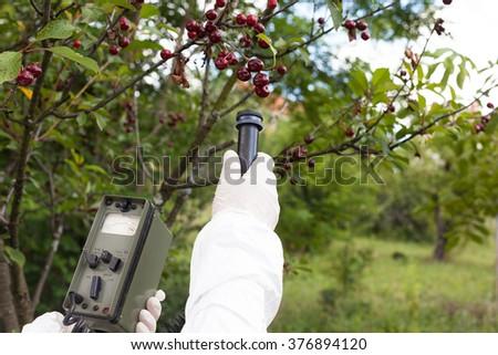 Measuring radiation levels of fruit tree - stock photo