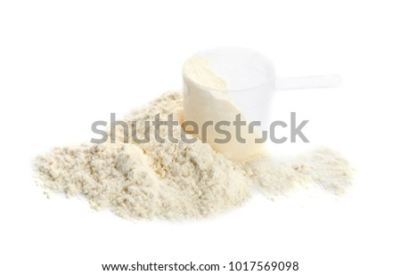 Measuring scoop with protein powder on white background