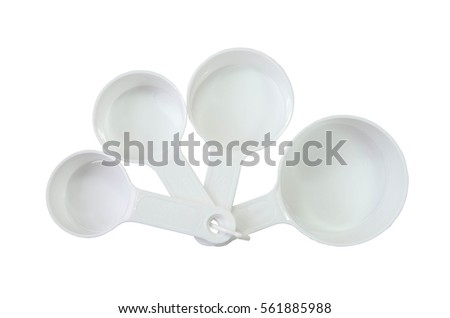 Measuring set table spoons plastic white color on white background. Devices, measuring ingredients for cooking preparation