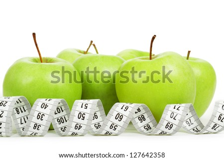 Measuring tape around a green apples as a symbol of diet on white background