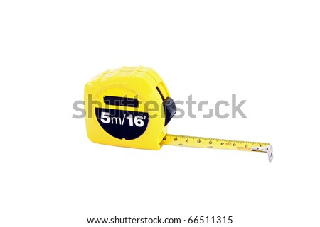 measuring tape for construction isolated on white - stock photo