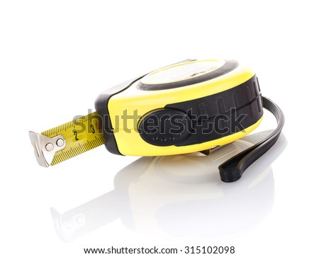 measuring tape for tool roulette  on white background - stock photo