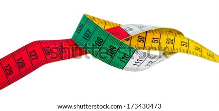 measuring tape green, red, yellow on white background isolated