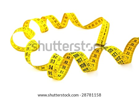 Measuring tape isolated on white with clipping path.