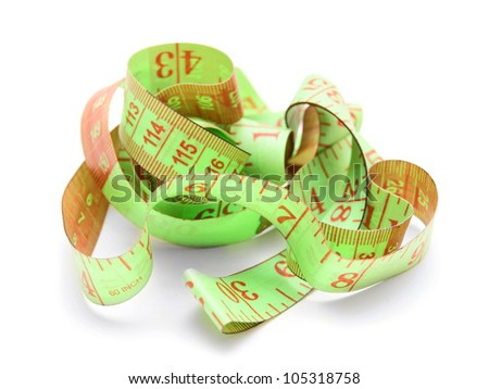 Measuring tape. On a white background. - stock photo
