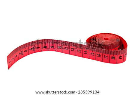 Measuring tape on white background red colour - stock photo