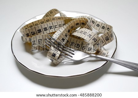 Measuring tape on white plate with a fork