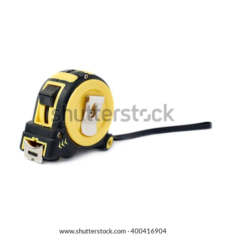 Measuring tape over isolated white background - stock photo