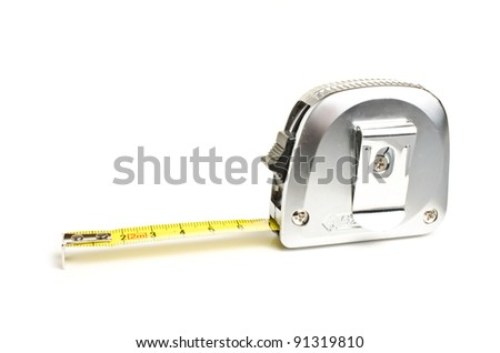 Measuring tape over white background with copy space