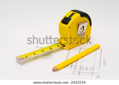 Measuring tape to illustrate any construction projects - stock photo