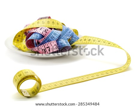 Measuring tapes for a meal isolated on white