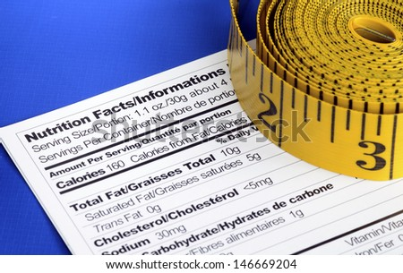 Measuring tapes on the Nutrition Facts concept of healthy dining - stock photo