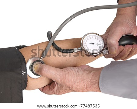 Measuring the blood pressure. Isolation