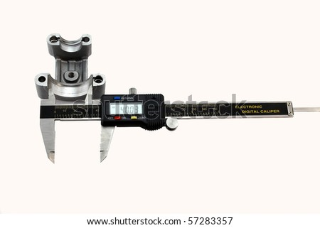 Measuring the inside diameter of a motorcycle camshaft retainer with electronic digital caliper to determine the damage and the wear.  Closeup isolated on white.