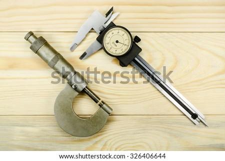 Measuring tool caliper and micrometer - stock photo