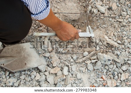 measuring wire  diameter by standard Vernier Calipers : construction analysis test work - stock photo