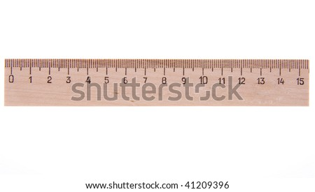 Measuring wooden ruler,  straightedge  on white background - stock photo