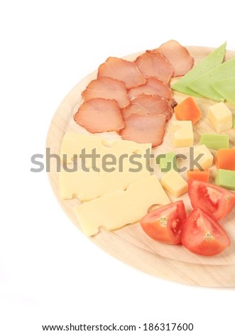 Meat and cheese plate. Isolated on a white background.