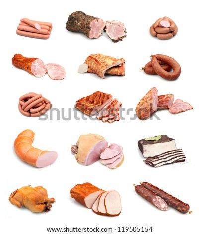 Meat and sausage collection isolated on white background - stock photo