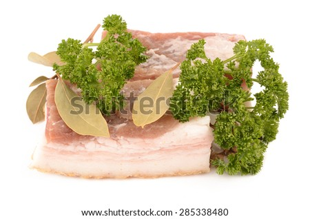 Meat and spices on a white background - stock photo