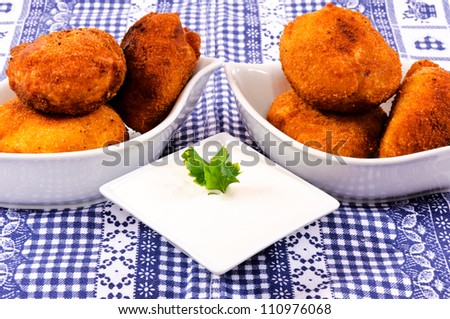 Meat balls and white onion cream - stock photo