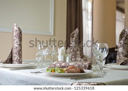 Meat, beefsteak, table - stock photo