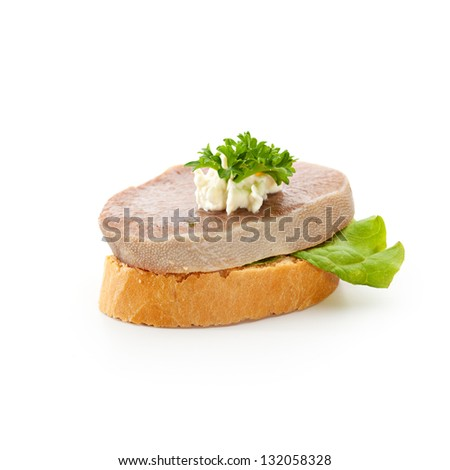 Meat Canape - Boiled Beef Tongue with Horseradish Dip