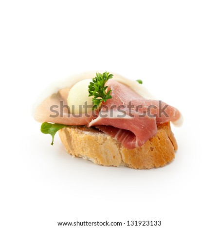 Meat Canapes - Ham with Honey Melon