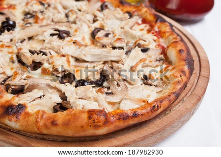 Meat chicken and mushrooms pizza - stock photo