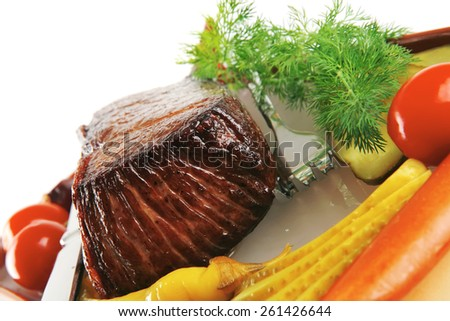 meat chunk on brown bowl with hot spices - stock photo