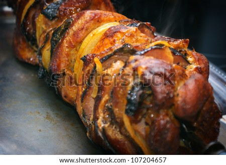 Meat cooked in the oven on grill