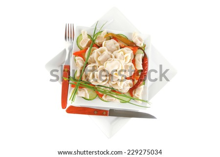 meat dumplings served on white plate with vegetables - stock photo