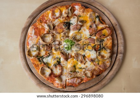 Meat feast Barbecue pizza with a topping of pepperoni and sausage - stock photo
