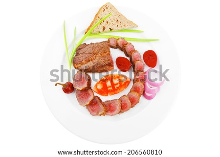 meat food : grilled fat meat served on white plate with tomatoes , sprouts and bread isolated on white background - stock photo