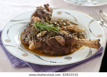 meat food with garlic - stock photo