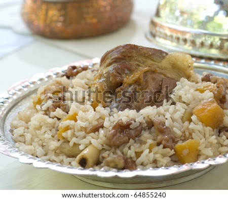 meat food with pilaf - stock photo