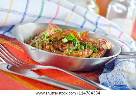 Meat frayed on fraying pan - stock photo