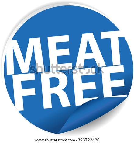 Meat free blue Label, Sign, stickers and symbol. - stock photo