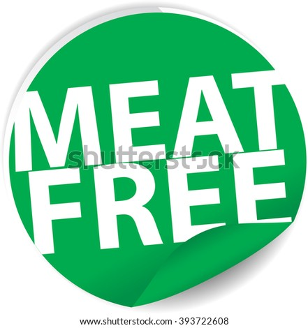 Meat free green Label, Sign, stickers and symbol. - stock photo