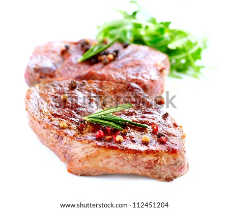 Meat.Grilled Beef Steak Isolated on White - stock photo