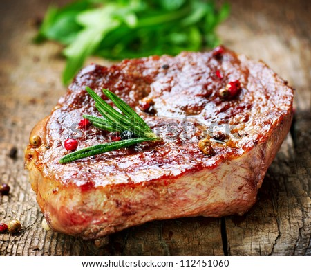 Meat.Grilled Steak - stock photo