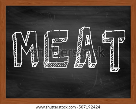 MEAT hand writing chalk text on black chalkboard