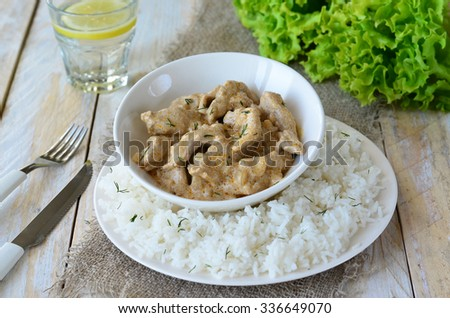 Meat in Creamy Sauce with Rice